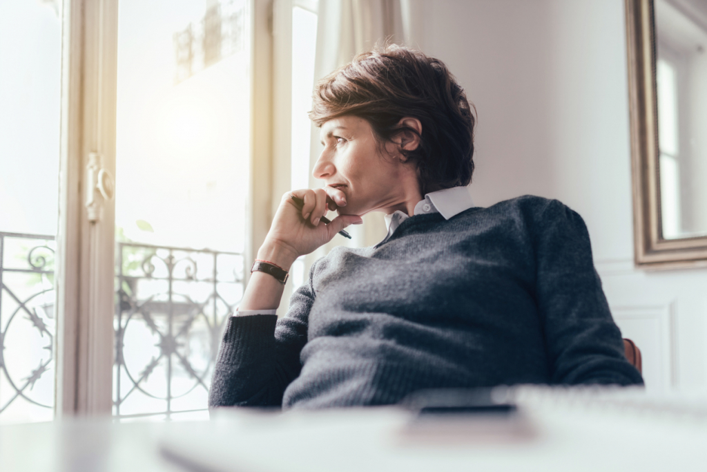 Woman thinking of going on a sabbatical