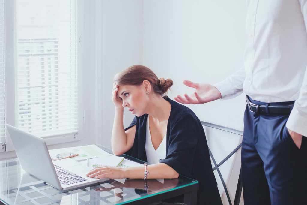 stress at work, emotional pressure, angry boss and unhappy employee